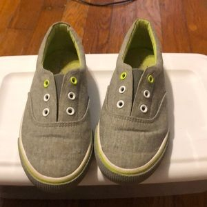 Gray canvas slip on shoes